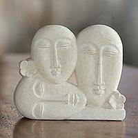 Sandstone sculpture, 'Indonesian Family' - Hand Crafted Indonesian Sandstone Sculpture of Three Faces