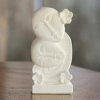 Sandstone sculpture, 'Together Always' - Hand Carved Indonesian Sandstone Sculpture of Floral Faces