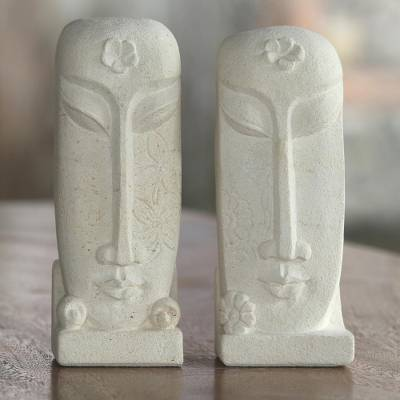 Sandstone sculptures, 'Harum Couple' (pair) - Pair of Hand Carved Sandstone Face Sculptures from Indonesia