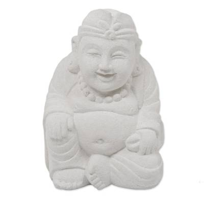 Hand Carved Sandstone Buddha Sculpture from Indonesia