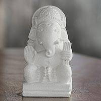 Sandstone sculpture, 'Noble Ganesha' - Hindu Sandstone Sculpture of Ganesha from Indonesia