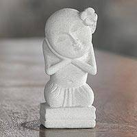 Sandstone sculpture, 'Dreaming Child' - Handmade Sandstone Sculpture from Indonesia