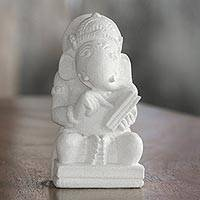 Sandstone sculpture, 'Reading Ganesha' - Hindu Sandstone Sculpture of Ganesha from Indonesia