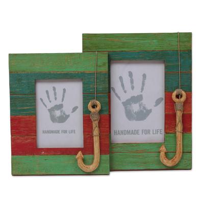 4x6 and 3x5 Albesia Wood Striped Nautical Photo Frames