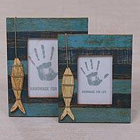 Wood photo frames, 'Fishing Memories' (4x6 and 3x5) - 4x6 and 3x5 Albesia Wood Striped Nautical Fish Photo Frames