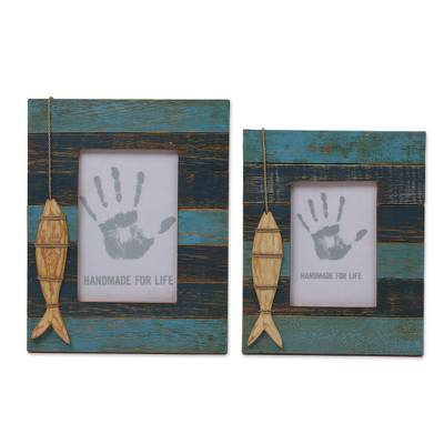 4x6 and 3x5 Albesia Wood Striped Nautical Fish Photo Frames