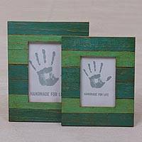 Wood photo frames, 'Forest Stripes' (4x6 and 3x5) - 4x6 and 3x5 Albesia Wood Green Striped Photo Frames