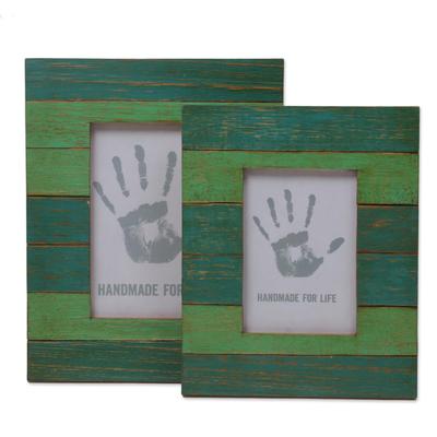 4x6 and 3x5 Albesia Wood Green Striped Photo Frames