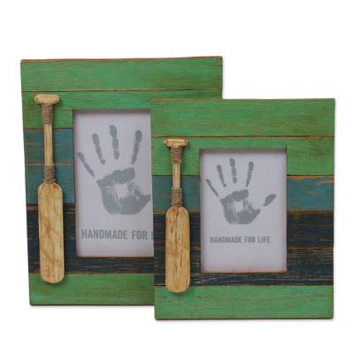 Two Indonesian Wood Photo Frames Antique Beach 4x6 3x5