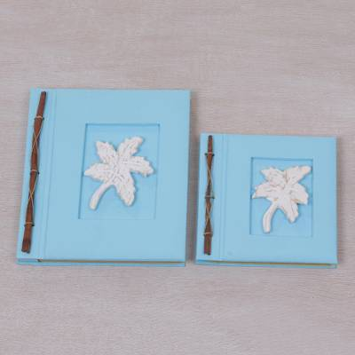 Wood-accented photo albums, 'Maple Dreams in Sky Blue' (pair) - Two Albesia Wood Indonesian Leaf Photo Albums in Sky Blue