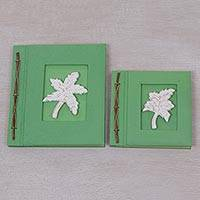 Wood-accented photo albums, 'Maple Dreams in Green' (pair) - Two Albesia Wood Indonesian Leaf Photo Albums in Green