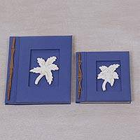 Wood-accented photo albums, 'Maple Dreams in Blue' (pair) - Two Albesia Wood Indonesian Maple Leaf Photo Albums in Blue