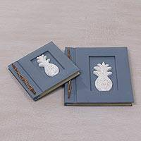 Wood-accented photo albums, 'Pineapple Dreams in Blue-Grey' (pair) - Two Blue-Grey Albesia Wood-Accented Pineapple Photo Albums