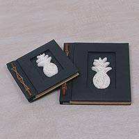 Wood-accented photo albums, 'Pineapple Dreams in Black' (pair) - Two Albesia Wood Indonesian Pineapple Photo Albums in Black