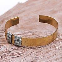 Sterling silver accent brass cuff bracelet, 'Island Journeys' - Sterling Silver Accent Brass Cuff Bracelet by Bali Artisans