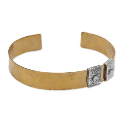 Sterling Silver Accent Brass Cuff Bracelet by Bali Artisans