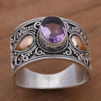 Gold Accent Amethyst and 925 Sterling Silver Ring from Bali