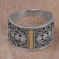 Gold accent sterling silver band ring, 'Golden Ubud Sky' - Gold Accent Sterling Silver Band Ring with Spiral Motifs
