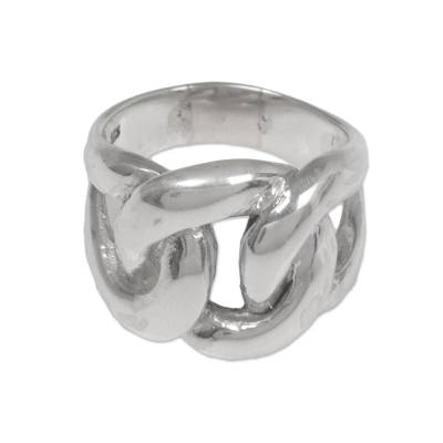 Sterling silver cocktail ring, 'Bold and Brave' - 925 Sterling Silver Unisex Cocktail Ring from Indonesia