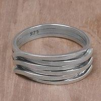Sterling silver band ring, 'Woven Rings' - 925 Sterling Silver Interwoven Band Ring from Indonesia
