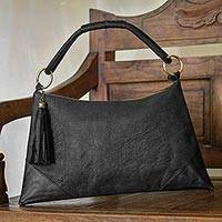 Leather shoulder bag, 'Sophistication in Black' - Artisan Crafted Black Leather Shoulder Bag from Indonesia