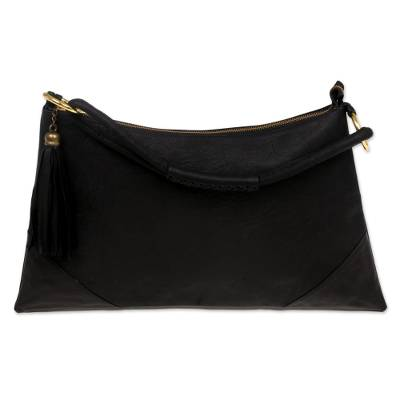 Artisan Crafted Black Leather Shoulder Bag from Indonesia