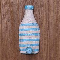 Wood wall hook, 'Beach Bottle' - Blue and White Beach Bottle Wood Wall Hook Handmade in Bali