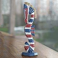 Wood statuette, 'Colorful Seahorse' - Albesia Wood and Pandan Leaf Seahorse Statuette from Bali