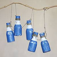Wood hanging accessory, 'Blue Bottles' - Blue and White Wood Bottle Wall Decor Accessory