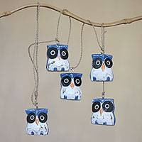 Wood hanging decor, 'Parliament of Owls' - Handcrafted Wall Home Decor of 5 Blue White Owls from Bali