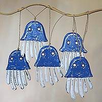 Wood hanging accessory, 'Blue Jellyfish' - Artisan Crafted Wood Blue and White Jellyfish Wall Decor