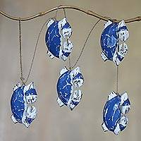 Wood hanging accessory, 'Blue Crabs' - Blue and White Albesia Wood Crab Wall Decor Accessory