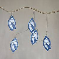 Wood hanging accessory, 'Little Dinghies' - Blue and White Dinghies Wood Wall Decor Crafted by Hand