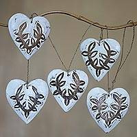 Wood hanging accessory, 'White Garland Hearts' - White and Brown Wood Heart Wall Decor Accessory