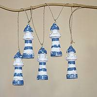 Wood hanging accessory, 'Sight of Land' - Handmade Blue and White Wood Lighthouse Wall Decor Accessory
