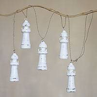 Wood hanging accessory, 'White Lighthouses' - Handmade White Wood Lighthouse Wall Decor from Indonesia