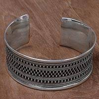 Sterling silver cuff bracelet, 'Elegant Fortress' - Sterling Silver Cuff Bracelet with Dot Motifs from Indonesia