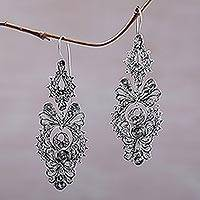 Sterling silver dangle earrings, 'Crowned Majesty' - Ornate 925 Sterling Silver Dangle Earrings from Indonesia