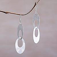 Sterling silver dangle earrings, 'Loving Bond' - Sterling Silver Modern Circle Dangle Earrings from Indonesia