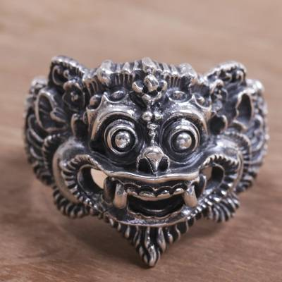Sterling silver ring, 'Barong Parade' - 925 Sterling Silver Barong Ring from Indonesia