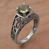 Peridot cocktail ring, 'Sky Goddess Temple' - 925 Silver Lattice Handcrafted Peridot Cocktail Ring