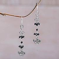 Onyx dangle earrings, 'Midnight Petals' - Onyx and Sterling Silver Floral Cluster Earrings from Bali