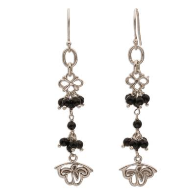 Onyx and Sterling Silver Floral Cluster Earrings from Bali