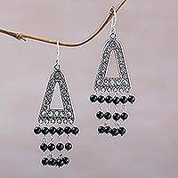 Onyx chandelier earrings, 'Pura Rainfall' - Onyx and Sterling Silver Triangular Earrings from Bali