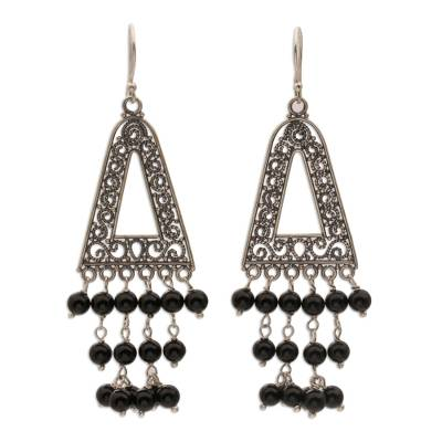 Onyx and Sterling Silver Triangular Earrings from Bali