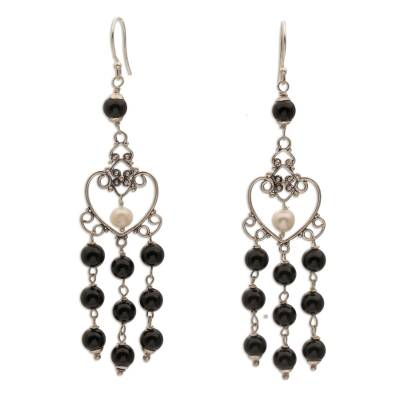Onyx and Cultured Pearl Heart-Shaped Earrings from Bali