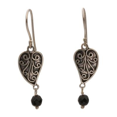 Sterling Silver and Onyx Leaf Dangle Earrings from Bali