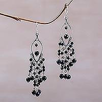 Onyx chandelier earrings, 'Shadow Drops' - Sterling Silver and Onyx Chandelier Earrings from Bali