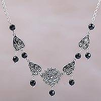 Onyx pendant necklace, 'Leaf Shield' - Sterling Silver and Onyx Leaf Necklace by Bali Artisans