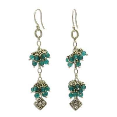 Sterling Silver and Agate Cluster Earrings by Bali Artisans